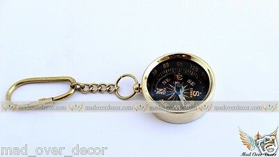 Brass Mini Compass Keychain Marine Nautical Key Ring collectable gift