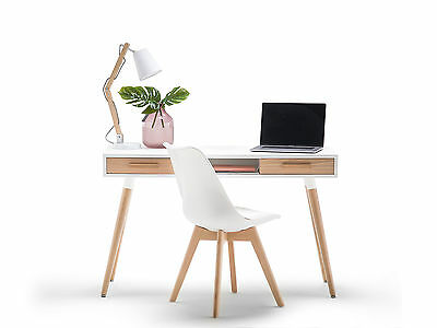 Myst Scandinavian Nordic WHITE TIMBER Student Home Office Work Desk w Oak Legs
