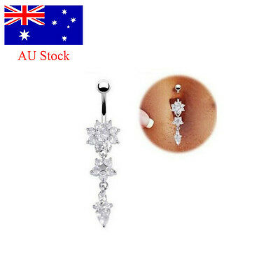 AU Belly Bar Navel Button Ring Crystal Gem Dangly Surgical Steel Body Jewellery