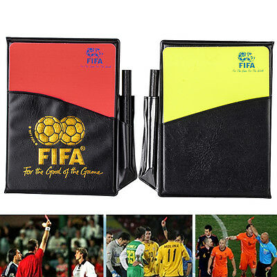 Sport Football Soccer Referee Wallet Notebook with Red Card and Yellow Card New