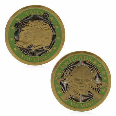 Heads We Win Tails You Lose Skull Golden Commemorative Challenge Coins Art