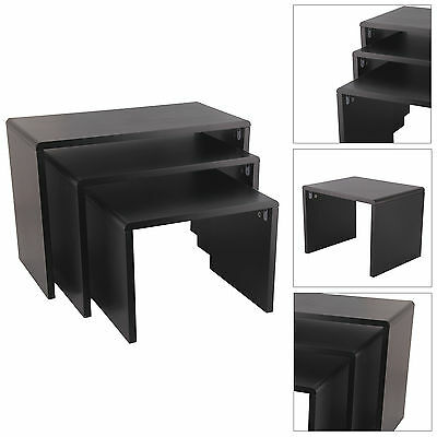 Set of 3 Black High Gloss Nest Coffee Table Nested Side Table Living Room