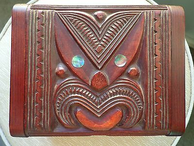 Maori Carved collectable Wooden Box vintage