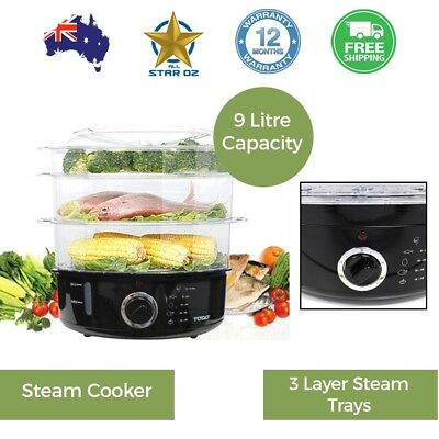 Food Steamer Healthy Vegetable  Food Steaming Machine Fish 3 Tier todo