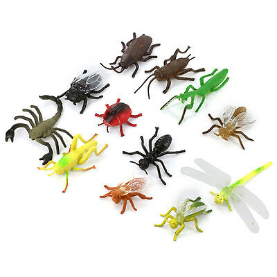 12PCS Plastic Insect Model Toys Simulated Animal Multi-color Kids Toy Tackle