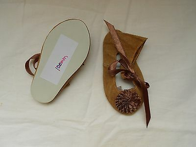 "Brown  Leather doll shoes,Handmade, for Antique dolls,4"" Sole"