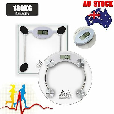 LCD Digital Electronic Bathroom Body Weight Scale Tempered Glass 400lb / 180 kg