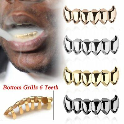 Grillz 14k Silver Gold Plated Top 8 Bottom 6 Tooth Hip Hop Teeth Grills BU