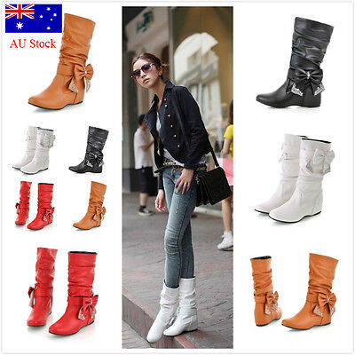 Au Stock! Ladies Womens Slouch Mid Calf Low Heel Wool Lined Boots Casual Shoes