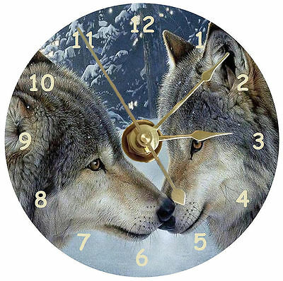 Wolves kissing on a handmade cd clock can be personalised