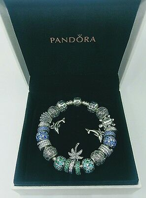 Genuine Pandora Moments Sterling Silver Bracelet including Charms  & box (18cm)