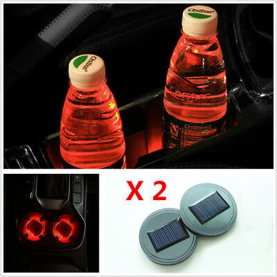 2X Solar Cup Holder Bottom Pad LED Light Cover Trim Atmosphere Lamp For All cars