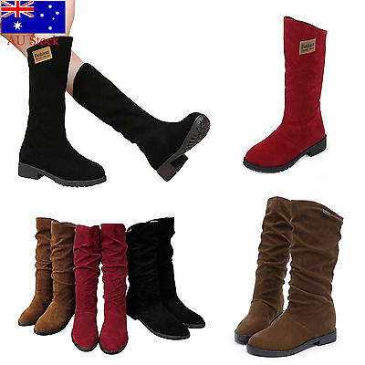 Women Boots Ladies Low Heel Winter Casual Mid Calf Suede Fur Lined Shoes AU