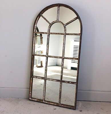 Antique cast iron window frame mirror vintage industrial salvage reclamation