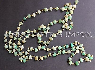 Chrysoprase 6mm Roundel Faceted Beaded Gold Plated Wire Wrapped Rosary Chain