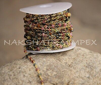 Multi Tourmaline 3-4mm Roundel Facet Brass Metal Alloy Gold Plated Beaded Chain