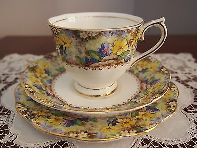 C 1930 Pretty Royal Albert Crown China Trio 'Mary's Garden'