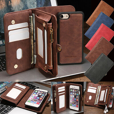 Leather Removable Wallet Magnetic Flip Card Case Cover for iPhone 8 7 6/6S Plus