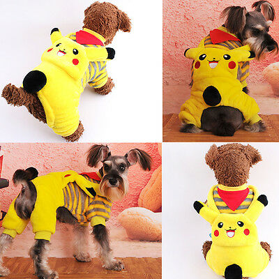 Pikachu Pet Winter Clothes Puppy Dog Cat Vest T Shirt Coat Dress Sweater Apparel