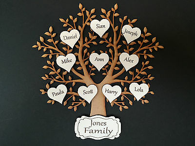 Wooden MDF Family Tree & personalised engraved hearts & family name 004