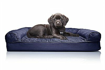 Furhaven ORTHOPEDIC DOG SOFA BED Pet Bolster Quilted NAVY BLUE- 50x38 or 91x68cm