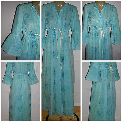VINTAGE 1960s BLUE NYLON FLORAL PRINT SAMANTHA BEWITCH EMPIRE STYLE HOUSECOAT MD