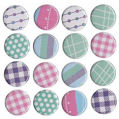 Fridge Magnets Set - Round Pastel Colour Patterns 16pc