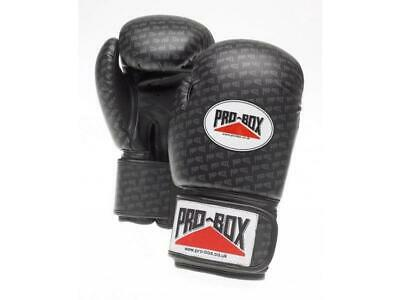 Pro Box Boxing Gloves - Senior Base Spar PU Training Sparring Gloves - Black