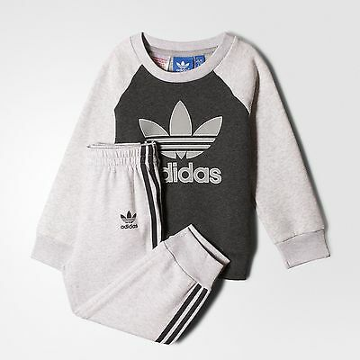 adidas originals boys grey infant/baby tracksuit. Jogging suit. Ages 0-6Y