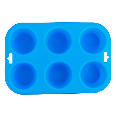 6 Cup Large Silicone Bun/Muffin - Non Stick Tin Tray Baking Pudding Mold Blue