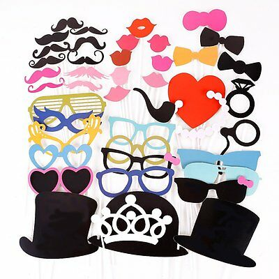 44PCS Colorful Props On A Stick Mustache Photo Booth Party Fun Wedding Favor BF