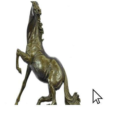 Handcrafted Beautiful Vintage Bronze Horse On Marble Sculpture Figurine  A