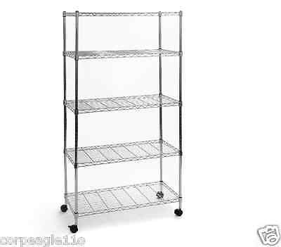 Metal Shelving Unit with Wheels & Storage Racks System Office Steel Wire 5 Shelf