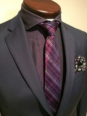 16 34/35 Hugo Boss Solid Purple Slim Fit Dress Shirt 100% Cotton