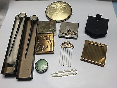 Lot of Vintage Compacts West Germany Hawaii Mirrors hairpin hair sticks Avon
