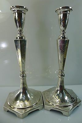PAIR OF ANTIQUE POLAND HALLMARKED LOVELY TALL 341 g. SILVER CANDLE STICK HOLDERS