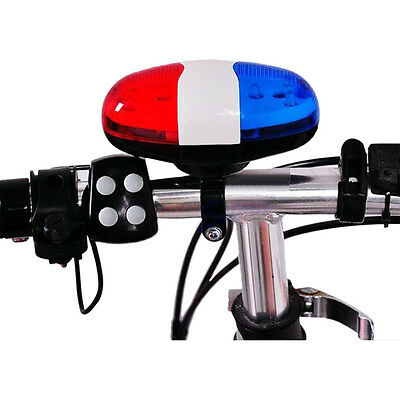 Bike Bicycle Police Car 6 LED Light 4 Sounds Trumpet Cycling Horn Bell Headlight