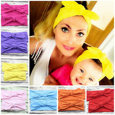 2pcs Mum Baby Mother Daughter Women Girl Parent Child Bow Knot Headband Hairband