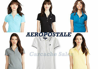 NWT AEROPOSTALE Embroidered Logo Womens Aero New York Jersey Pique Polo Shirt
