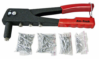 Pop Rivet Gun with Nozzles and 60 (4 Different  Size Rivets) With SAFTY CATCH