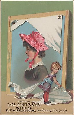Victorian Trade Card-Gomer's Sons Clothiers-Brooklyn, NY-Child Exposing Portrait