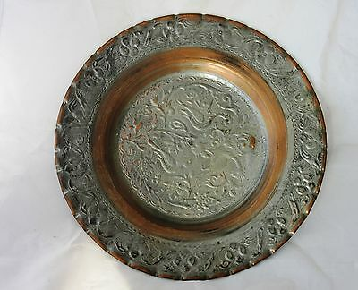 Antique Islamic art copper silver plated plate, hand crafted Persian art