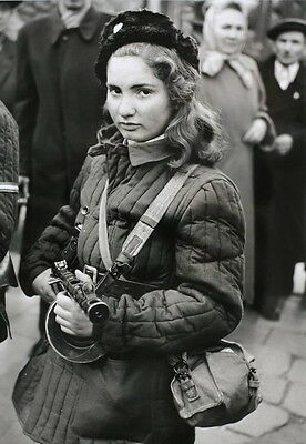 WWII B&W Photo Young Russian Female Soldier PPSh WW2 / 1116