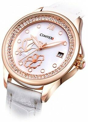 Comtex Women's Watches With Mother Of Pearl Dial And White Leather Rose Gold