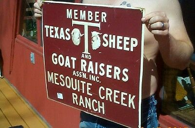 Vintage Texas Sheep & Goat Metal Farm Ranch Sign Pig Cow Horse Cattle