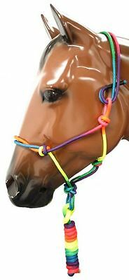 Showman Full Horse Size Rainbow Cowboy Knot Rope Halter with 8' Lead