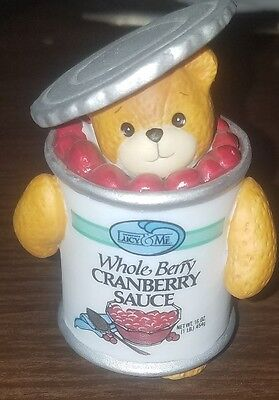 Lucy & Me Enesco Can of Whole Berry Cranberry Sauce Bear Figurine Lucy Rigg 1994