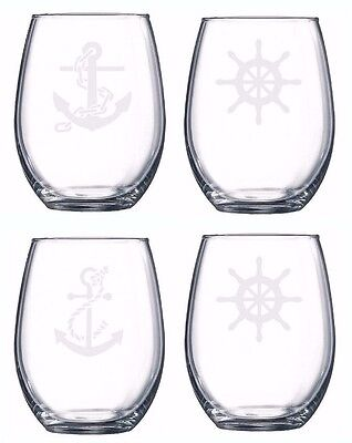 Nautical Set Of 4 Glasses Etched Engraved Boat Friends Love Wine Beer Anchor