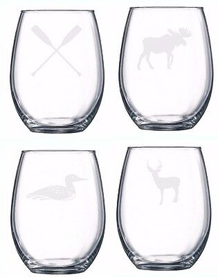 Cottage Set Of 4 Glasses Etched Engraved Boat Friends Love Wine Beer Camp Hunt