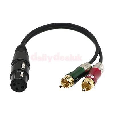 "12"" XLR Female Adapter Plug to 2 x Phono Male RCA Splitter Patch Y Cable"